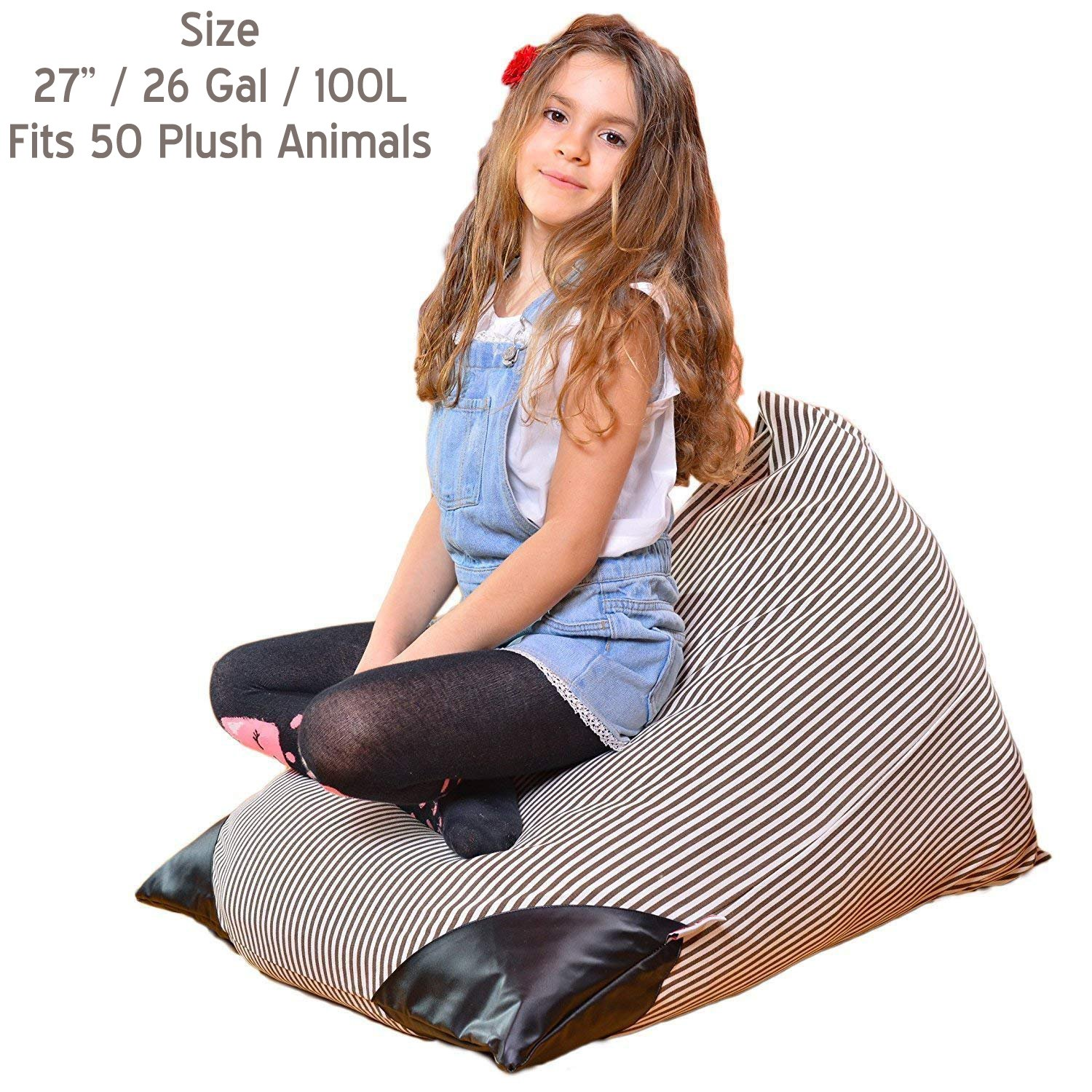 Bean Bags Stuffed Animal Storage Chair | Giant Extra Large Stuffable Toy Organizers Covers Filler Big Pillowfort XL 38 48 27'' Kids Plush Stuff inches 50 100 200 (27'' / 26 Gal / 100L) (Bean Bag) by Kids Evo