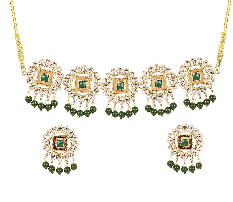 Touchstone Bollywood indien finement en relief et en m/étal battu sud indien inspir/é faux rubis designer mariage collier tour de cou ensemble pour femme