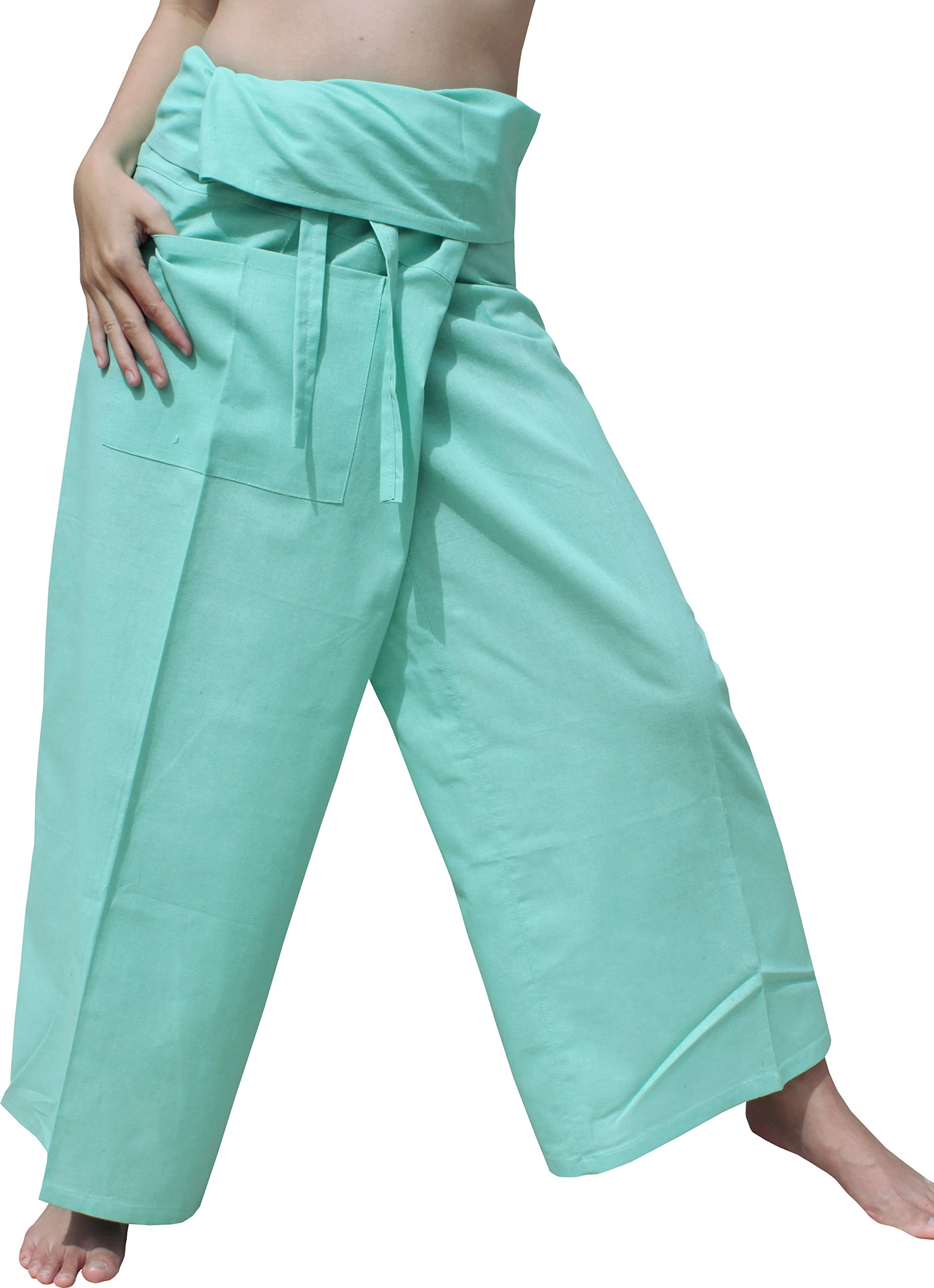 Raan Pah Muang Brand Light Summer Cotton Thai Plain Fisherman Wrap Pants Tall Cut, X-Large, Magic Mint Green by Raan Pah Muang