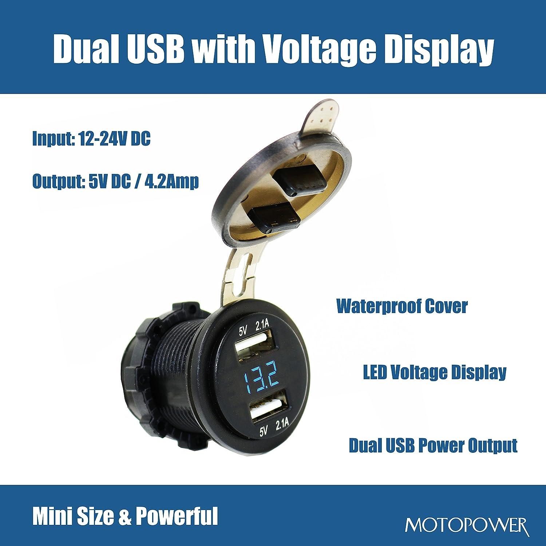 Blue LED Display MOTOPOWER MP0611B 4.2Amp Dual USB Charger Voltmeter LED Digital Display Universal Car Boat Motorcycle RV