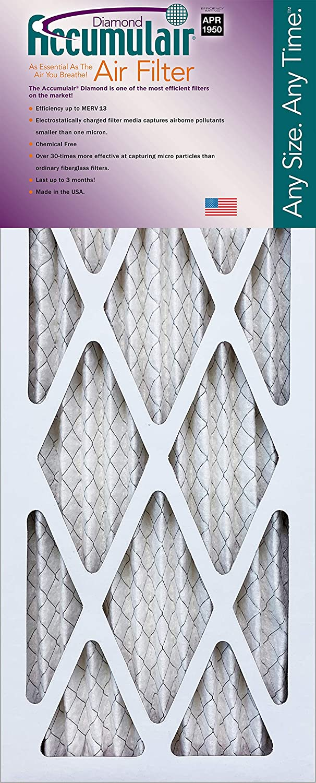 15-1//2x29-1//2 Accumulair Diamond Filter MERV 13 4-Pack 16x30x2