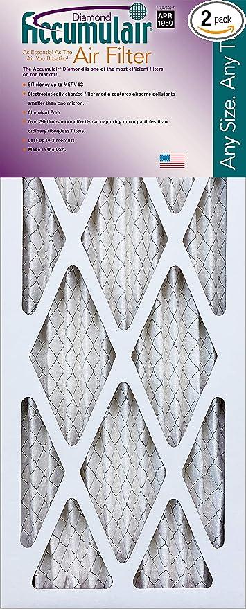 Actual Size Accumulair Diamond 20x22.25x1 2 Pack MERV 13 Air Filter//Furnace Filters