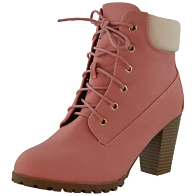 Amazon.com | Womens Ankle Boots Rugged Lace Up High Heel Shoes ...