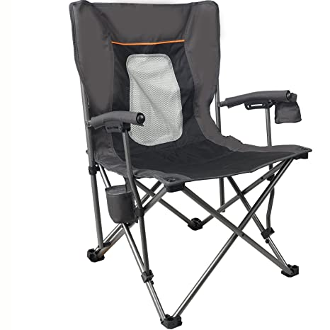 PORTAL Mesh Back Mountaineering Leisure Camp Chair With Cup Holder, Black