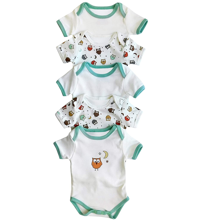 62cm//0-3 Months Slumbersac Baby Bodysuit Short Sleeve Owl 5 Pack Size