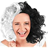 Skeleteen Black and White Wig - Cruel Lady Half and Half Wavy Costume Wig for Adults and Kids