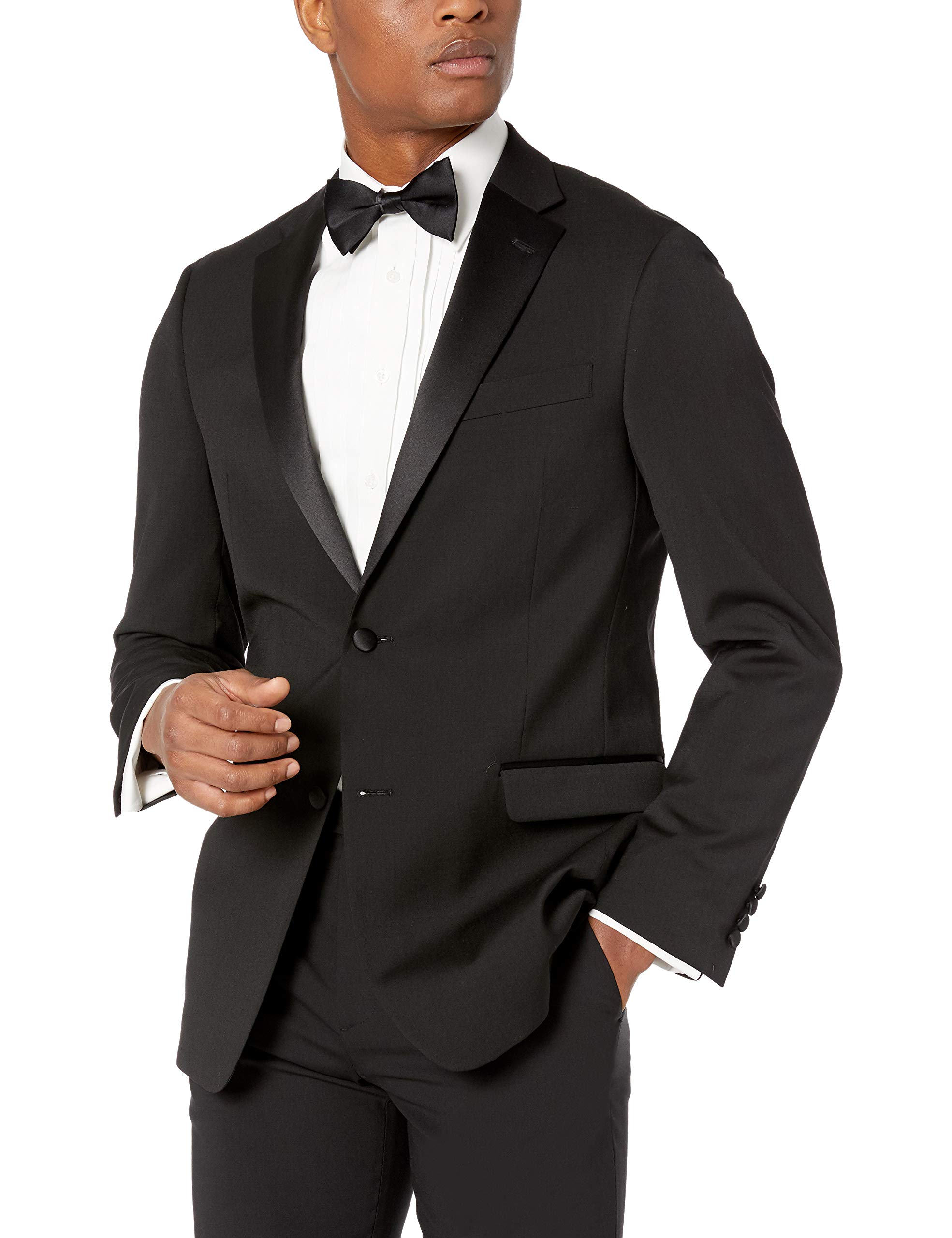 Tommy Hilfiger Men's Big and Tall Modern Fit Wool Blend Tuxedo Separate (Blazer and Pant), Black, 50R
