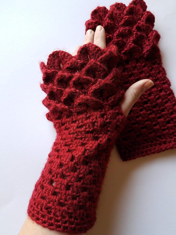 Amazon Dragon Scale Fingerless Gloves Arm Warmer Crochet