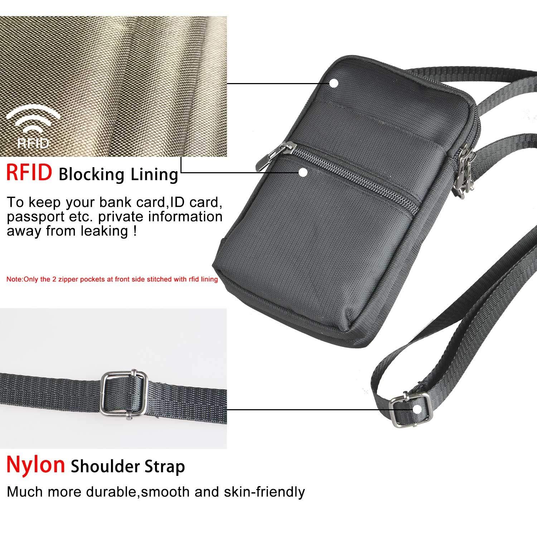 RFID Blocking Passport Purse Shoulder Travel Pouch 6.5 inch Mobile Phone Crossbody Shoulder Bag 3 Way Water Resistant Black