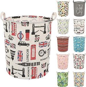 Clothes Laundry Hamper Storage Bin Large Collapsible Storage Basket Kids Canvas Laundry Basket for Home Bedroom Nursery Room (Y-London, L)