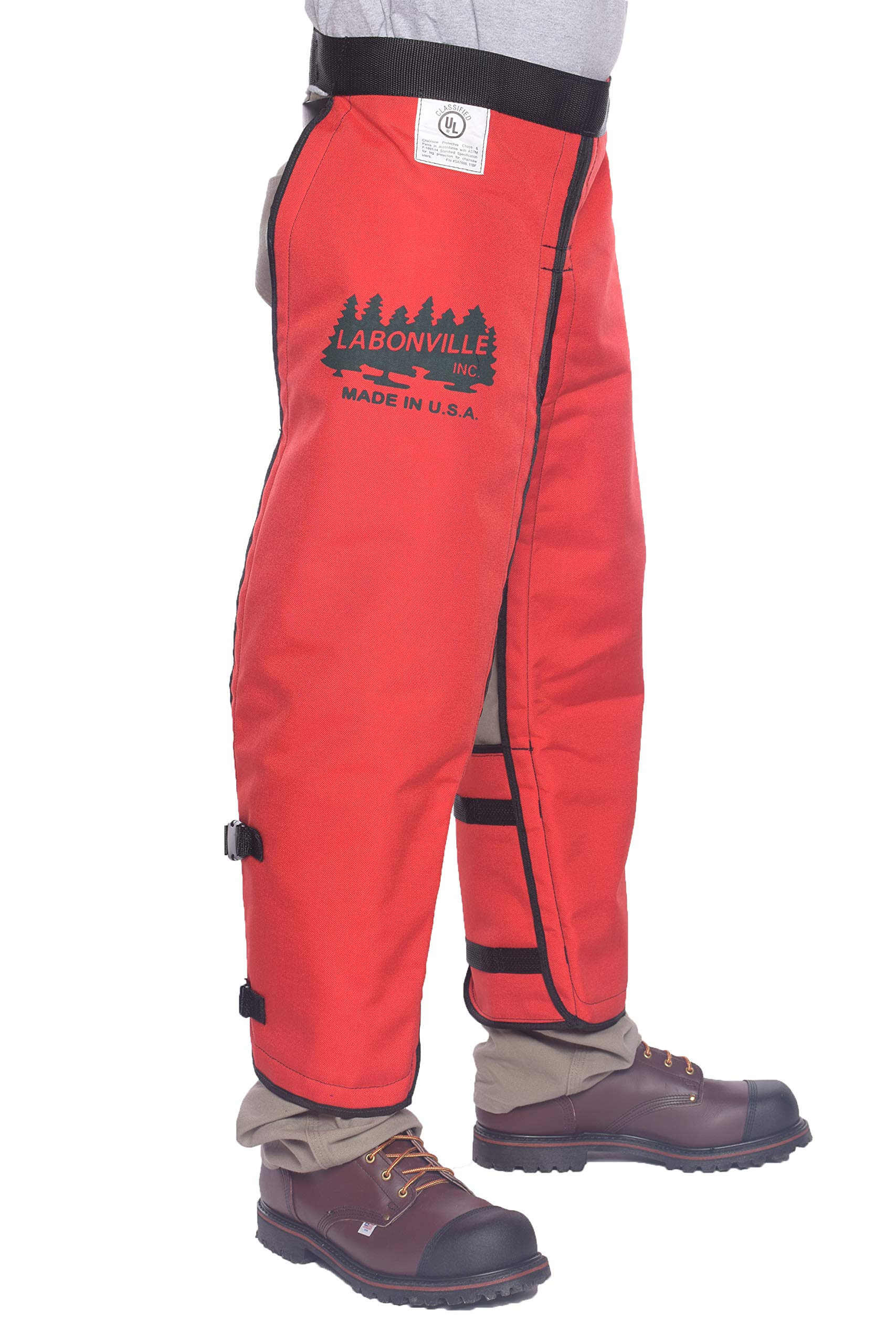 LABONVILLE Full Wrap Chainsaw Chaps - Overall Length 40'' - Made in USA - Orange