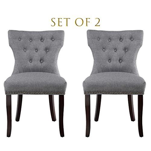 Set of 2 Dining Chairs Accent Chairs of Soft Fabric with Solid Wooden Legs Gray