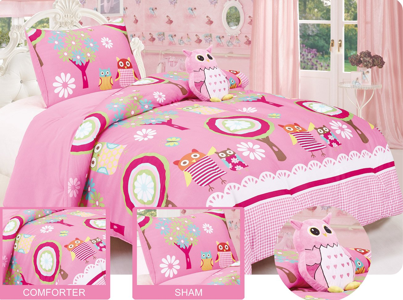 Comforter set with matching Sham and Toy Pillow Hot Pink, White, Green, Yellow, Blue