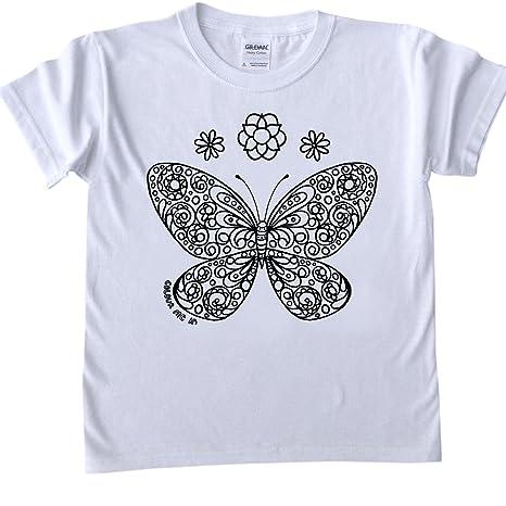 T Shirt Per Bambini Da Colorare Disegno Della Farfalla Dimensioni Età 7 8 Marcatori Tessuto Sono Venduti Separatamente