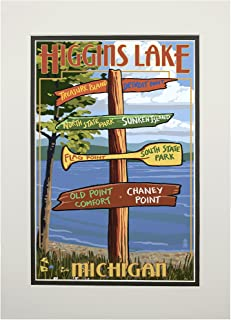 product image for Higgins Lake, Michigan - Destinations Sign (11x14 Double-Matted Art Print, Wall Decor Ready to Frame)