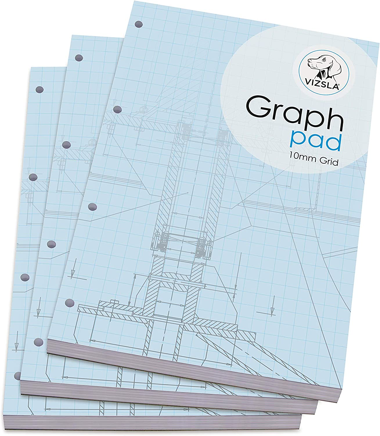 Vizsla Pack of 3 80gsm Paper 10mm Grid with Cover 175 Sheets per pad, A4 Graph pad