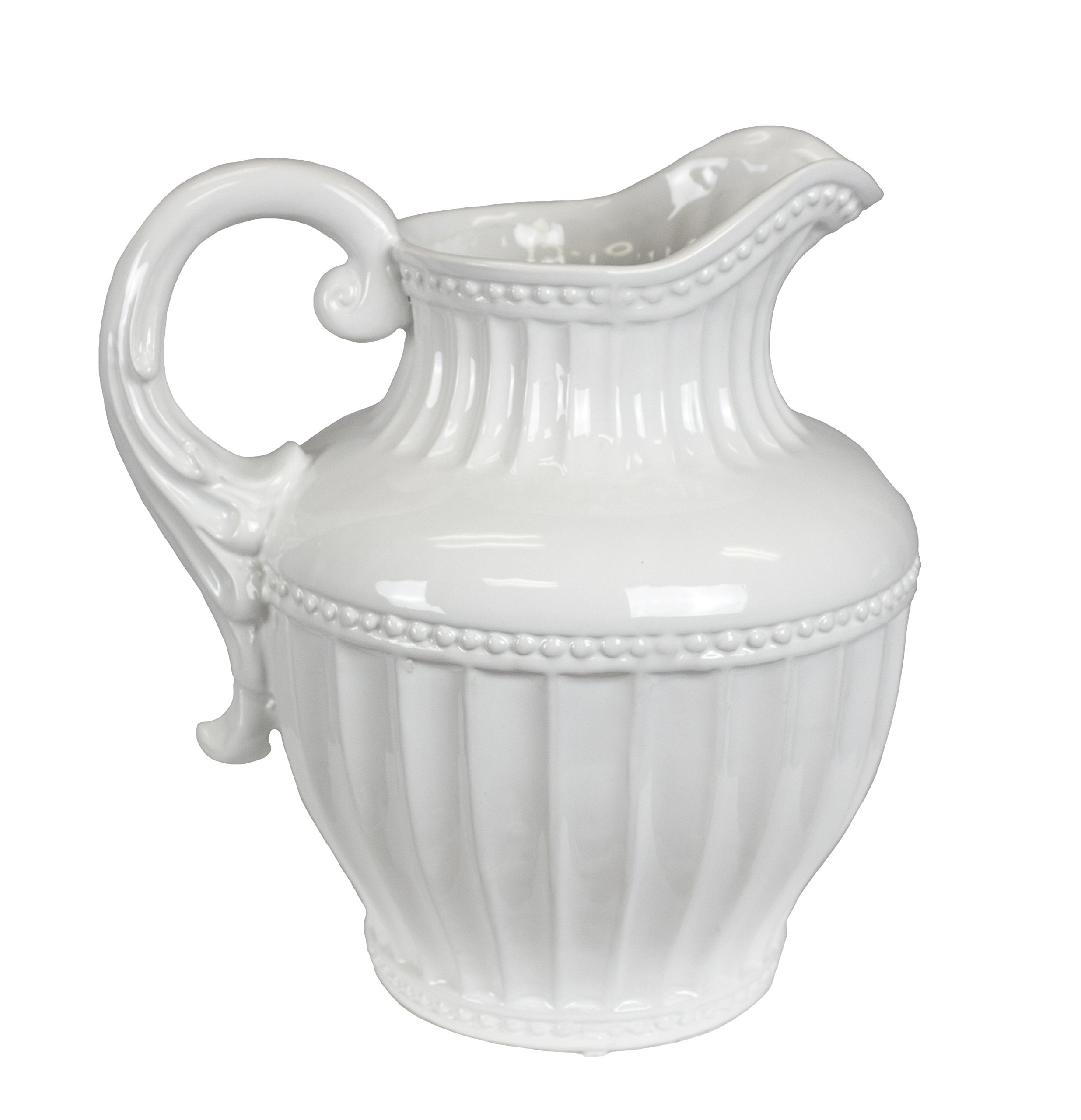 Sagebrook Home 11630 Decorative Pitcher, White Ceramic, 10 x 10 x 11.5 Inches