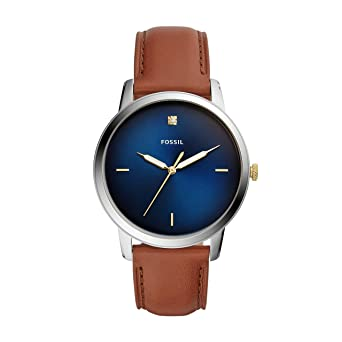 Fossil The Minimalist 3h Analog Blue Dial Men's Watch-FS5499 Men's Watches at amazon