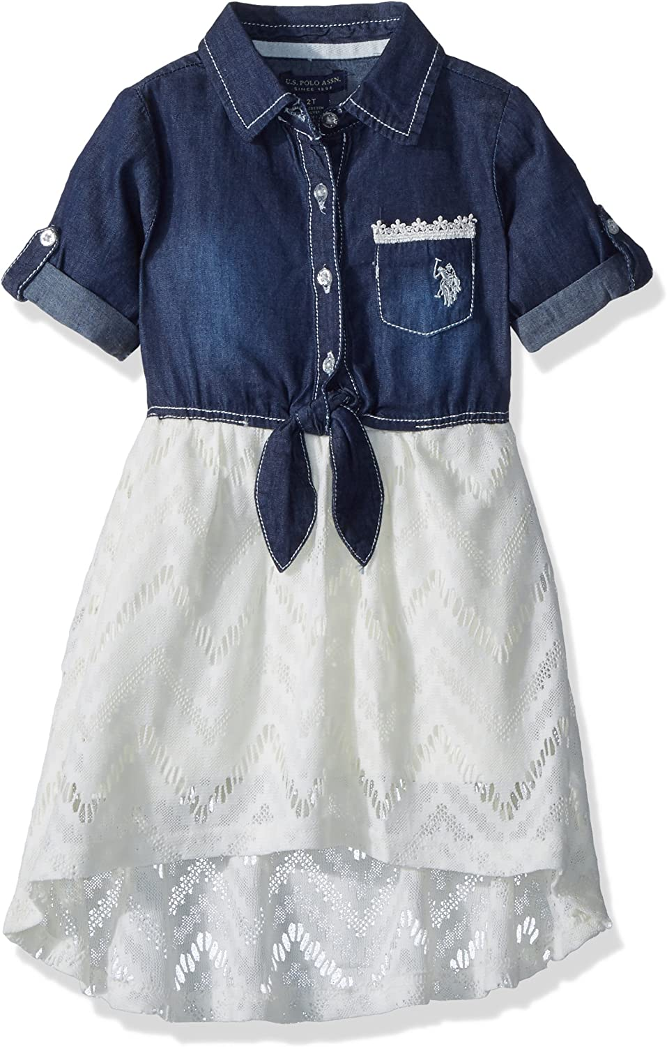 U.S. Polo Assn. Girls Toddler Casual Dress, for Look lace Vanilla ...