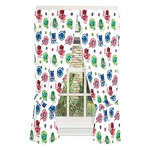 "Franco Kids Room Window Curtain Panels with Tie Backs Drapes Set, 82"" x 63"", PJ Masks"