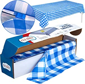 Blue Gingham Picnic / Party Plastic Tablecloth Roll, Disposable Picnic colored Table cloth On a Roll With Self Cutter Box,Cut Tablecloth To Your Own Table Size,Indoor/Outdoor, By Clearly Elegant