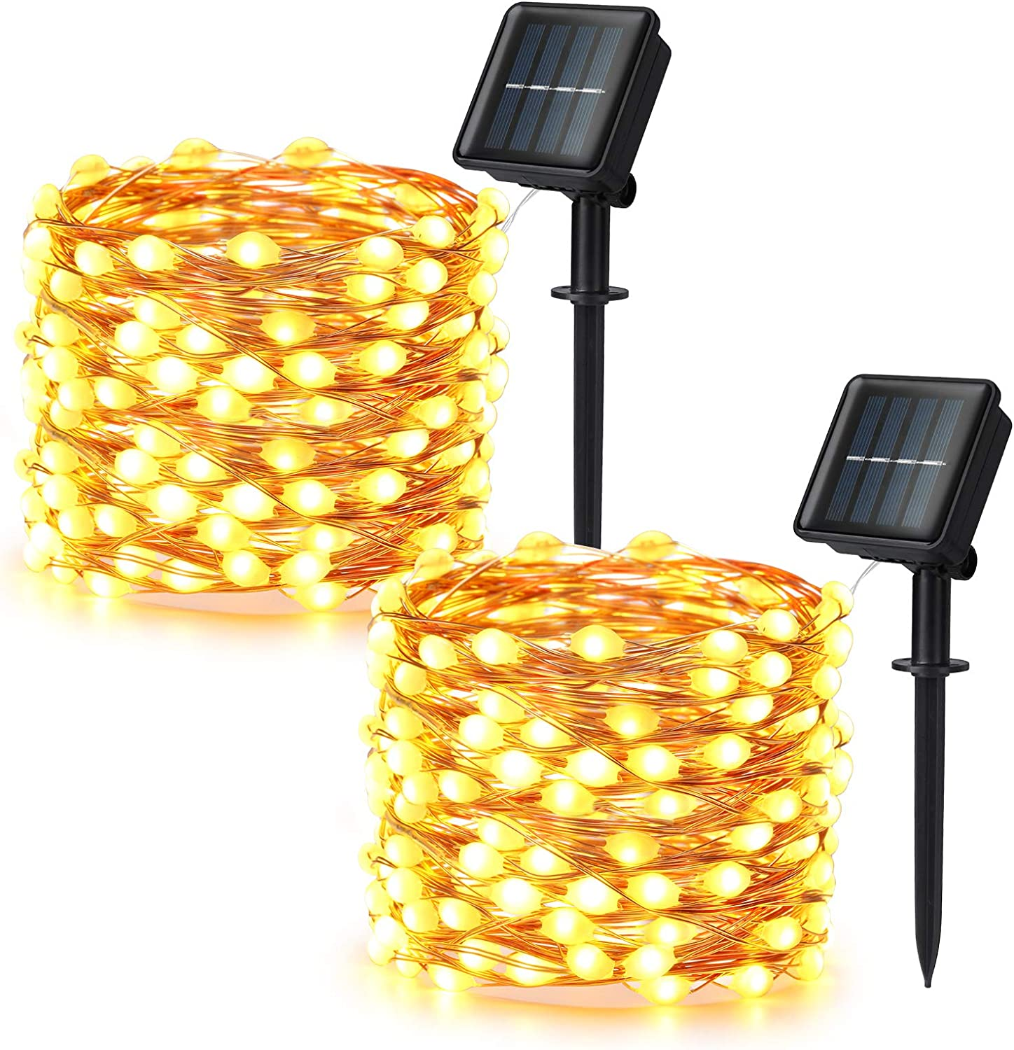 Brizled Solar String Lights, 2 Pack 33ft 100 LED Super Bright Solar Fairy Lights Outdoor, Mini Solar Lights String Waterproof, 8 Modes Solar Copper Wire Lights for Garden Wedding Party, Warm White