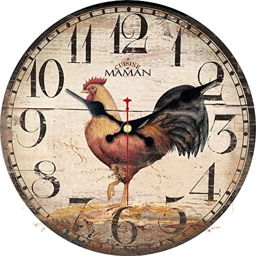 ShuaXin 14 Inch Primitive Country Rustic Rooster Clock Quartz Movement Silent Non-Ticking Wooden Wall Clocks for Kitchen Study Office Room Decorations R05