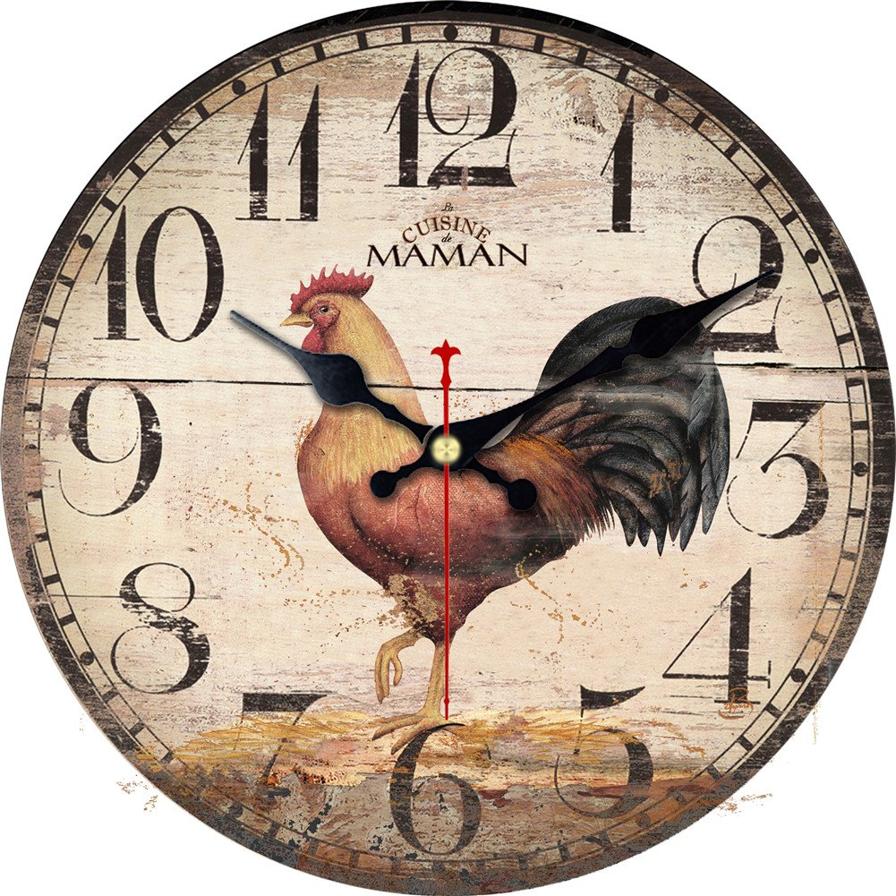 ShuaXin 12 Inch Primitive Country Rustic Rooster Clock Quartz Movement Silent Non-Ticking Wooden Wall Clocks for Kitchen Study Office Room Decorations (R05)