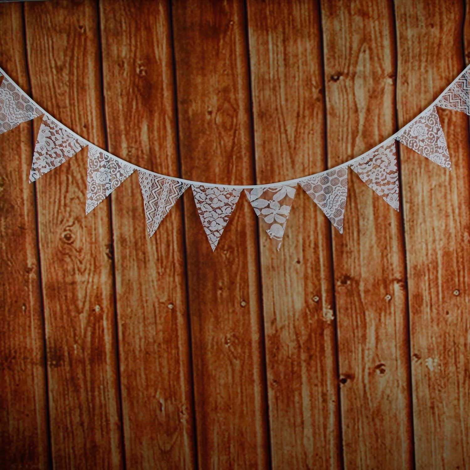 Outdoor /& Home Decoration Birthday Party White INFEI 3M//9.8Ft Mixed White Lace Fabric Flags Bunting Banner Garlands for Wedding