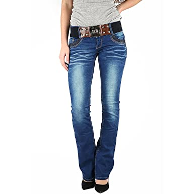 Womens Ladies New Low Rise Dark Denim Blue Flare Bootcut Jeans With Belt UK 8-14