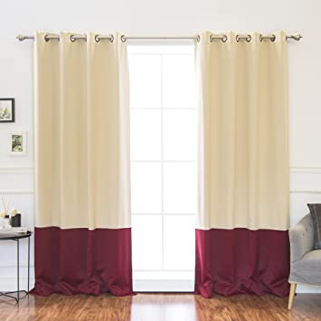 best home fashion colorblock thermal insulated blackout curtains antique bronze grommet top beige