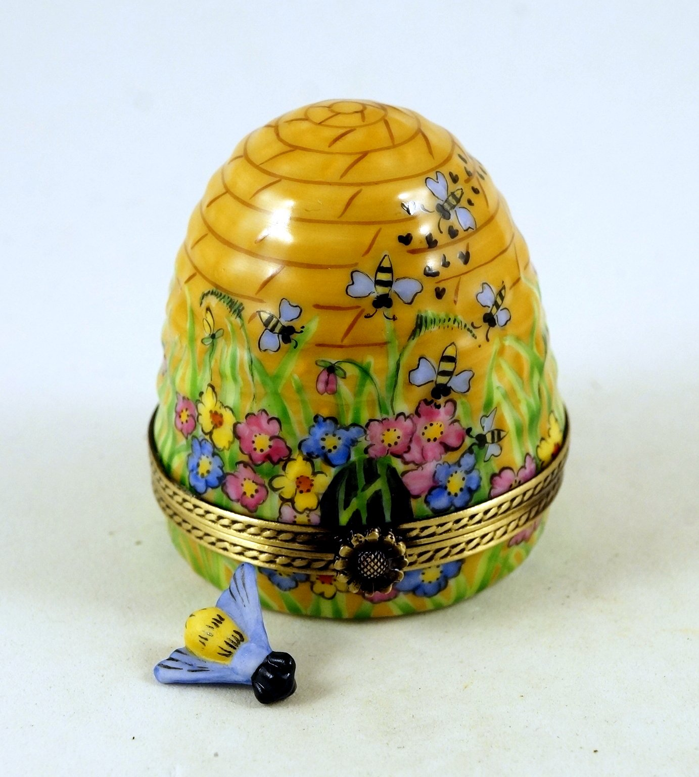 Authentic French Porcelain Hand Painted Limoges Trinket Box Amazing Colorful Beehive with Miniature Porcelain Removable Bee by Authentic Limoges Boxes (Image #3)