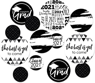 product image for Big Dot of Happiness Black and White Grad - Best is Yet to Come - 2021 Graduation Party Giant Circle Confetti - Black and White Grad Party Decorations - Large Confetti 27 Count