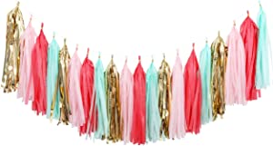 Fonder Mols 20pcs Coral Mint Blush Pink Gold Tissue Paper Tassel Garland for Wedding Party Girl Birthday Nursary Room Decorations A17