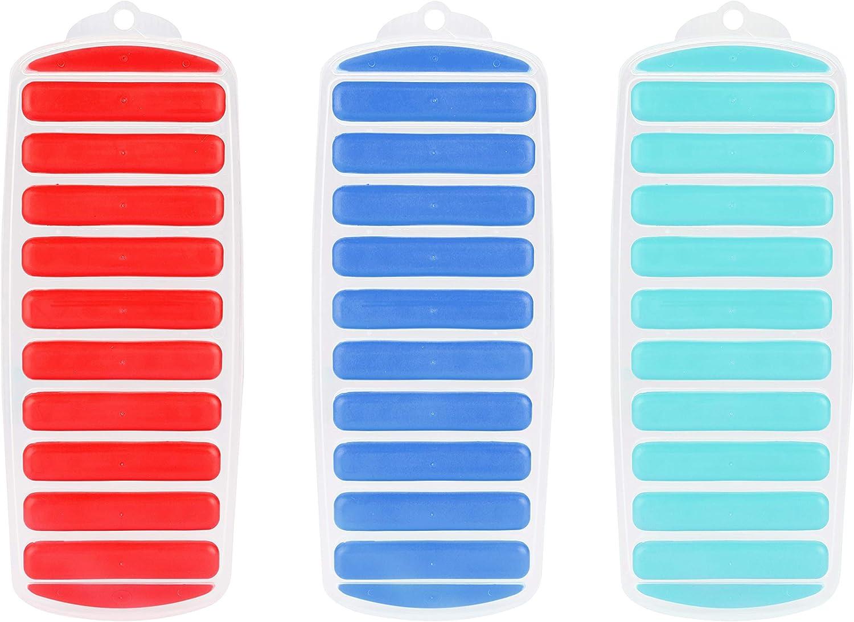 Bandejas de Hielo (3 Pack) - (30x11,5x2cm) Flexibles Libres de BPA de Silicona 10 Molde de Hielo Sticks - Bandejas Colores Surtidos para Cócteles, Botellas de Agua, Botellas de Jugo