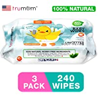 Trumom Hypoallergenic 100% Natural Vitamin E Baby Wipes, White, 240 Wipes (Pack of 3)