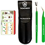TickCheck Premium Tick Remover Kit - Stainless Steel Tick Remover + Tweezers, Leather Case Free Pocket Tick Identification Card