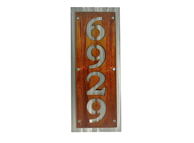 Rustic Metal Vertical House Address Number Sign