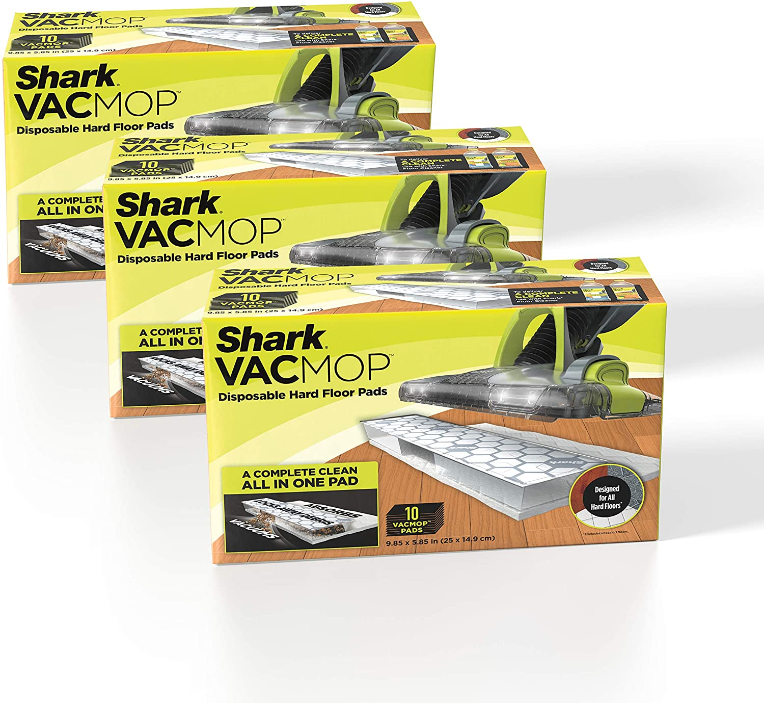 Shark VMP30 VACMOP Disposable Hard Floor Vacuum and Mop Pad Refills, 30 Count, White: Home & Kitchen