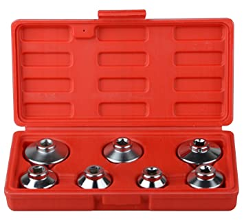VW Paper Cartridge Housing ABN Oil Filter Cap Wrench Metric 7-Piece Socket Set Tool Kit 24mm to 38mm for BMW Mercedes