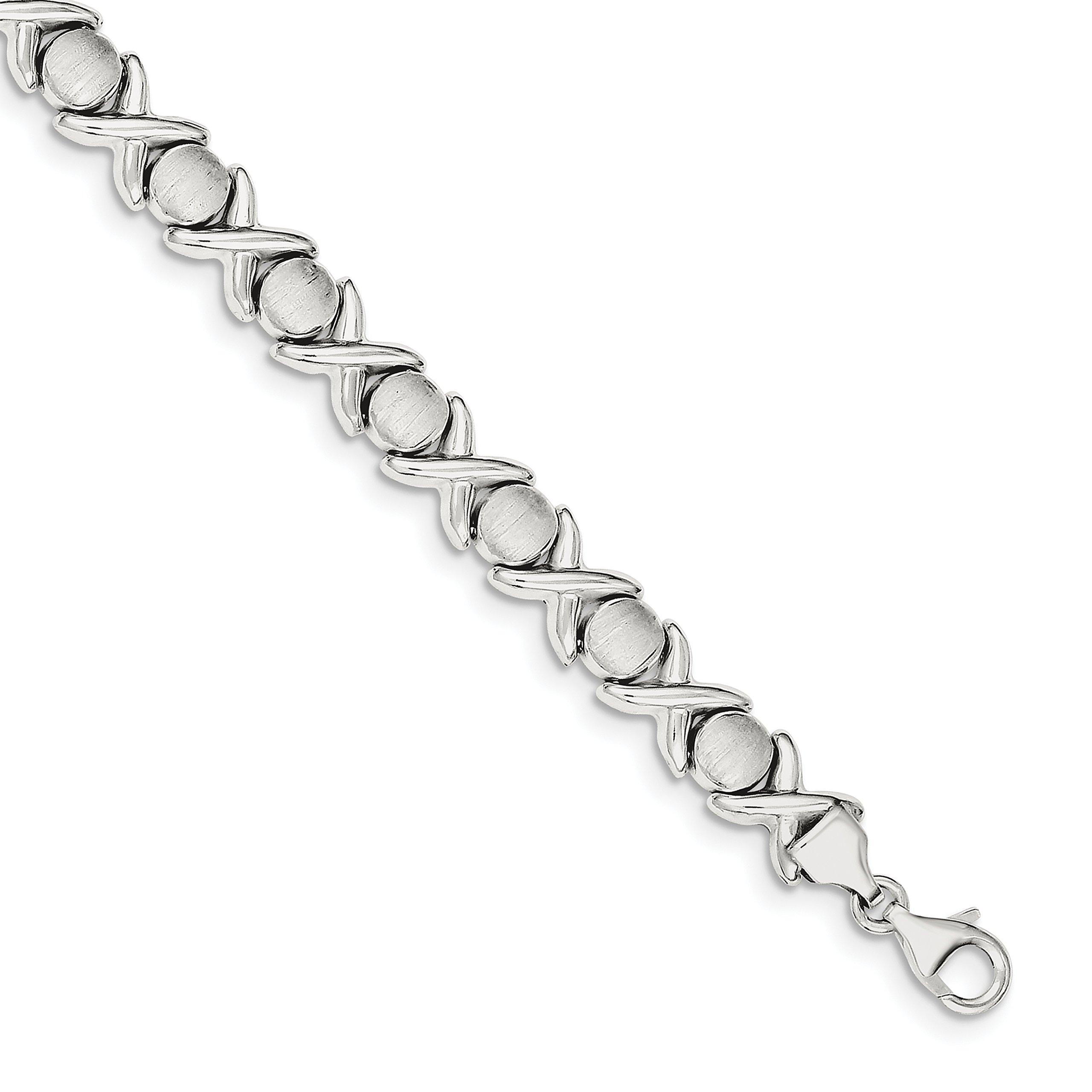 ICE CARATS 925 Sterling Silver X O Bracelet 8 Inch Fancy Fine Jewelry Gift Set For Women Heart