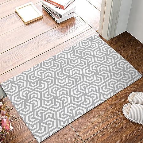 Indoor Door Mats For Front Door Entrance, Modern Geometric Tiles Texture  Pattern Printed Shoes Scraper