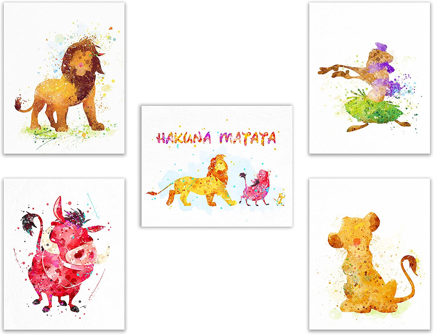 Lion King Kids Prints - Set of 5 Cute (8 inches x 10 inches) Art Decor Photos - Simba Pumbaa Timon Nala