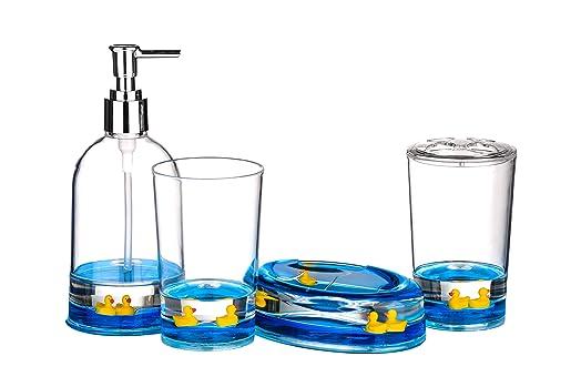 premier housewares floating ducks bathroom set blue 4 piece