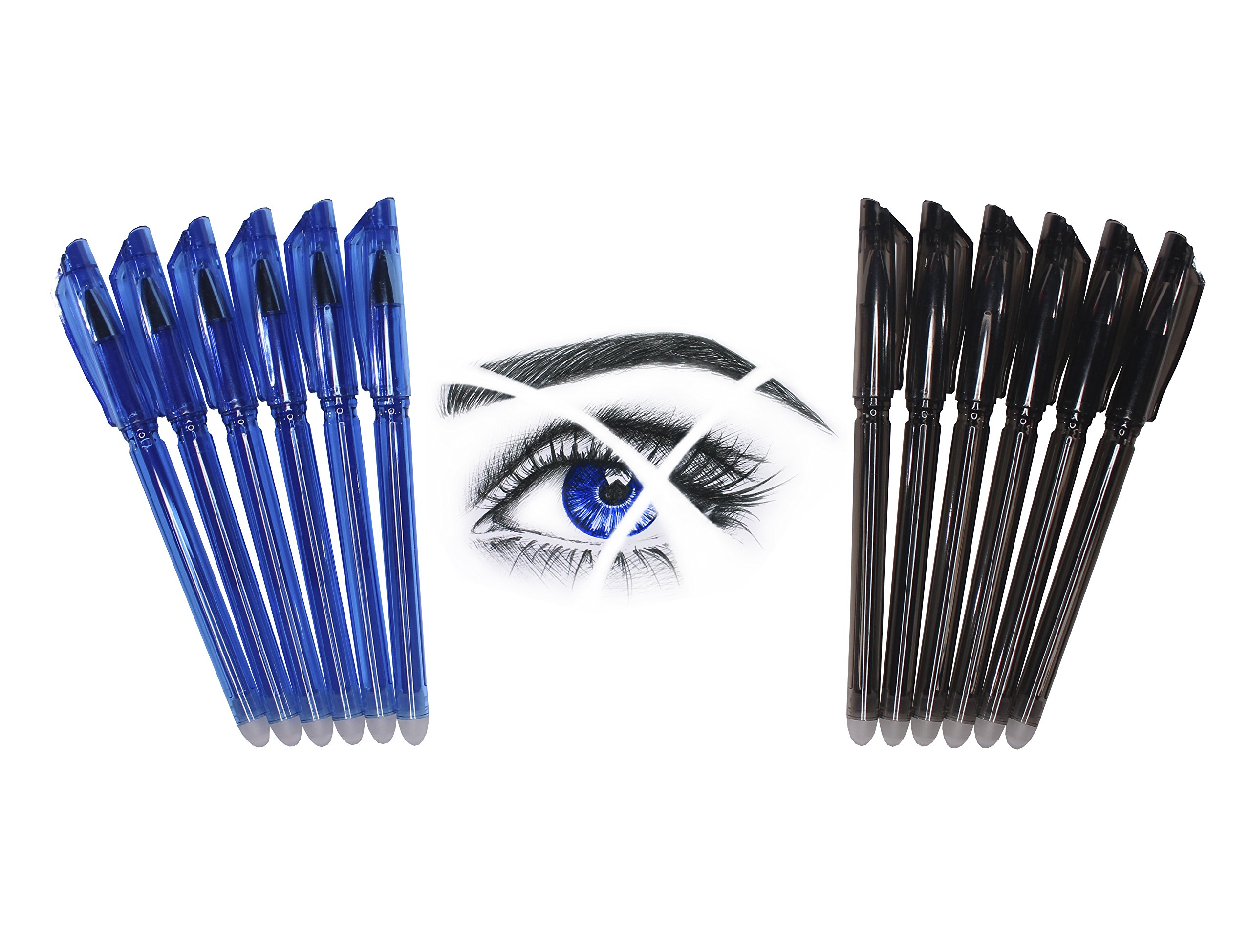 Friction Erasable Pens - Value Pack of 6 Black & 6 Blue Pens with Ultra Fine 0.38mm Point - 12 Erasable Gel Pens - Best for Smooth Writing & Easy Correction - by Hieno Supplies by Hieno Supplies
