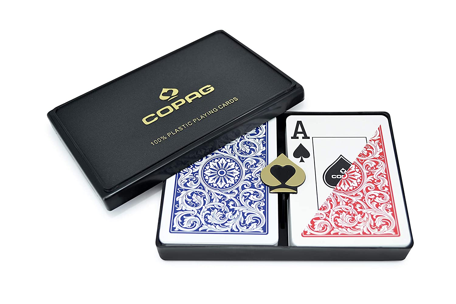 B000SA5BJ2 Copag Poker Size Jumbo Index 1546 Playing Cards (Blue Red Setup) 81eeaXKptSL