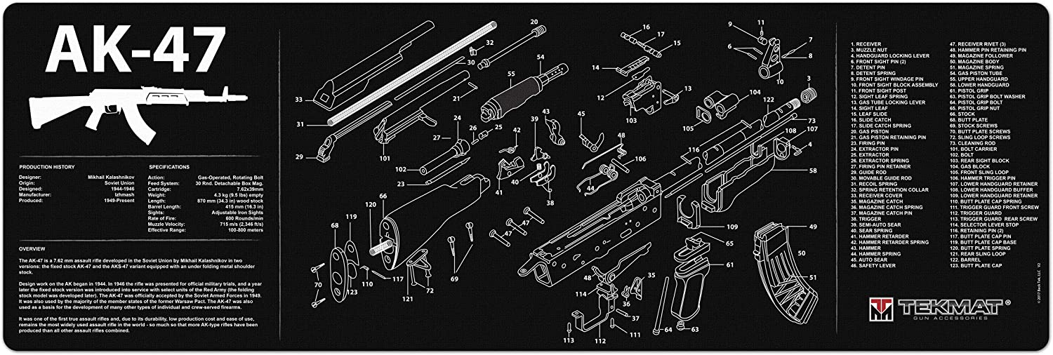 amazon.com : tekmat gun cleaning mat for use with ak-47 : hunting ... ak 47 exploded parts diagram  amazon.com