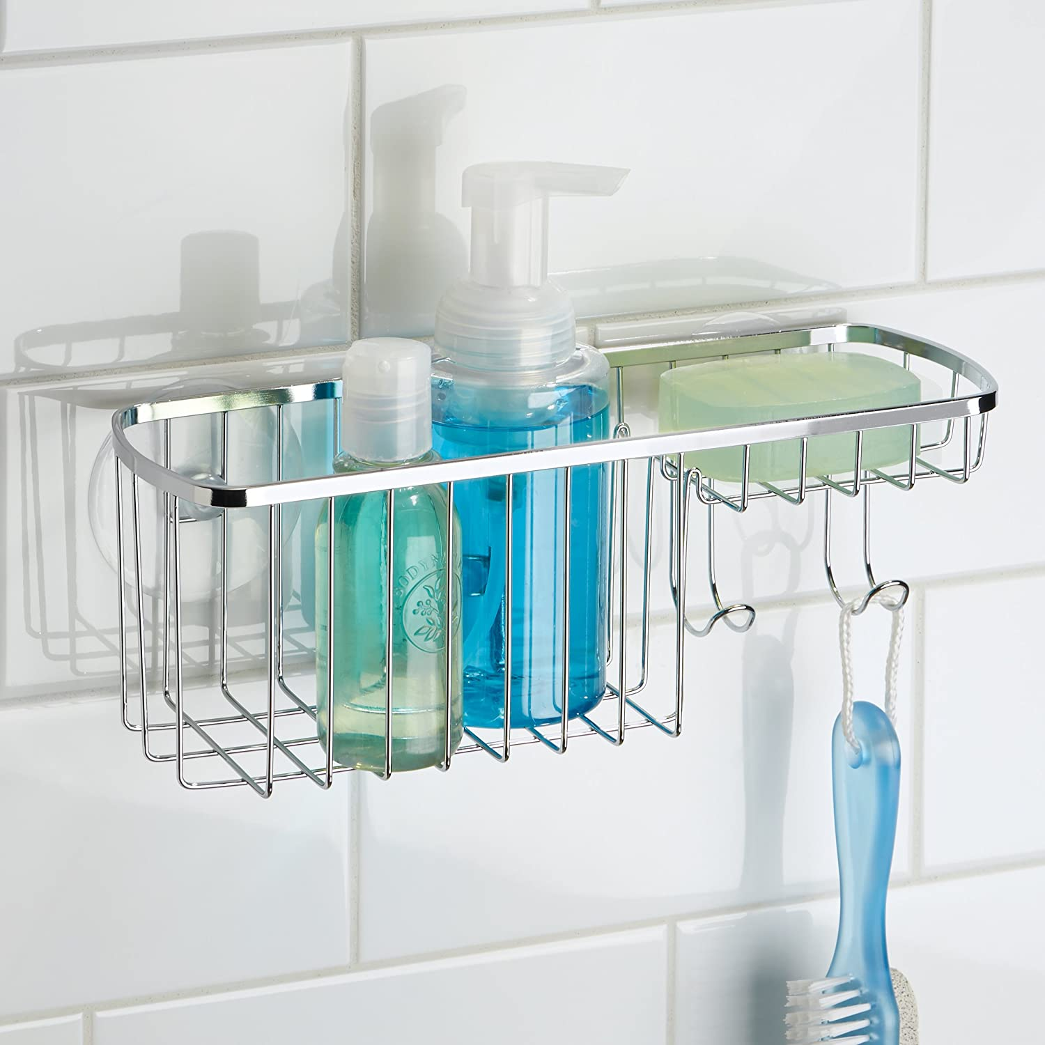 Amazon.com: mDesign Suction Shower Combo Organizer Basket with Soap ...