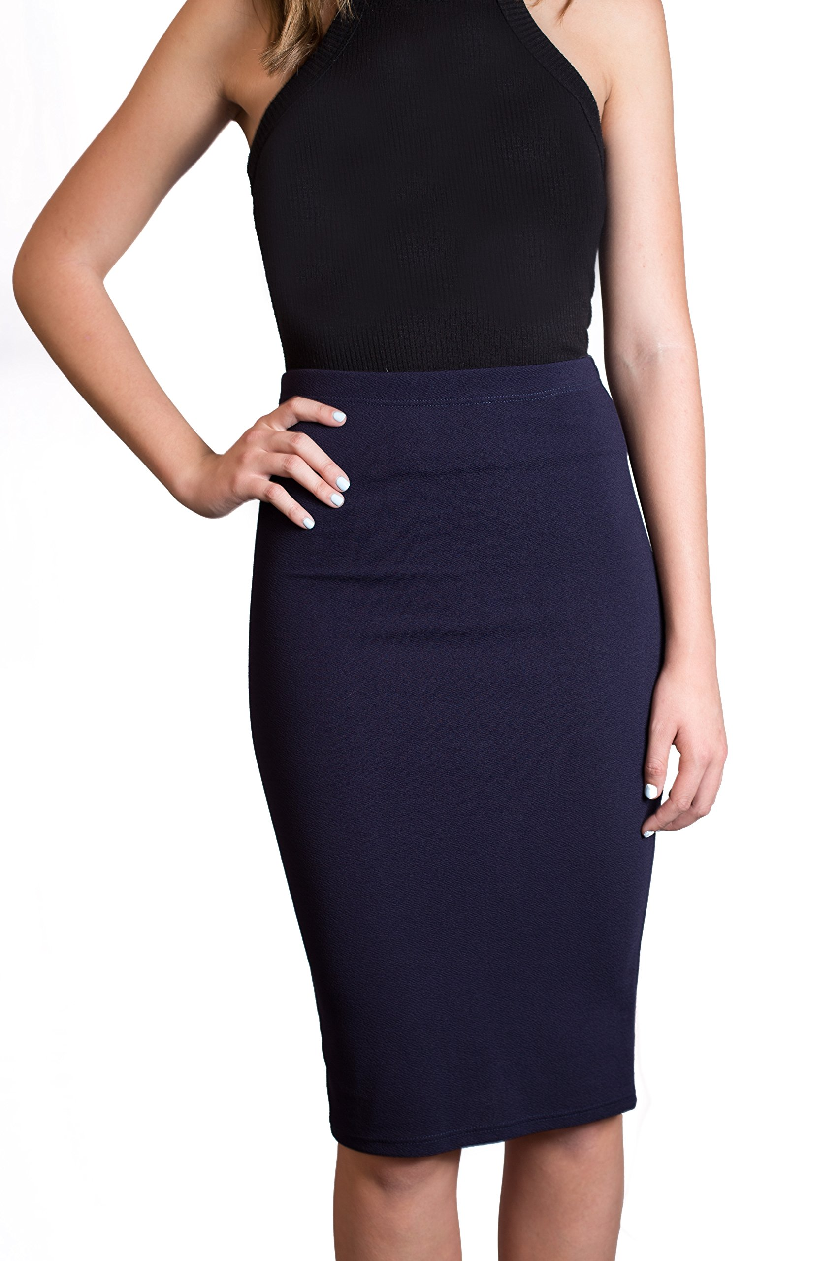 CALDORE USA Womens Pencil Skirts Below The Knee Length Solid Color for Any Casual, Occasion and Office Wear by (Small, Navy)