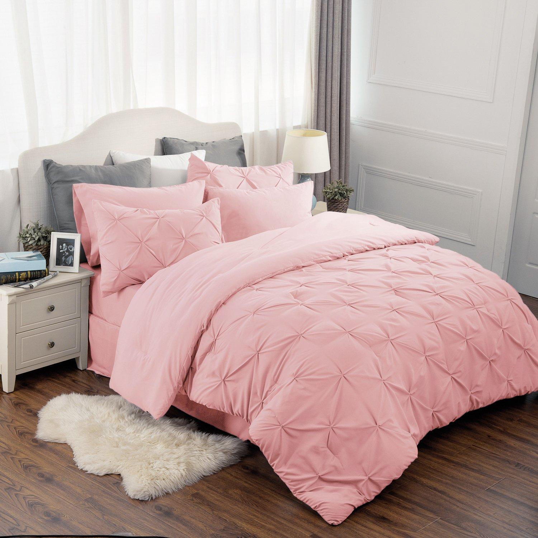 """Bedsure 8 Piece Comforter Set Pink Full Queen Size (88""""X88"""") Pinch Pleat Down Alternative BED IN A BAG (Comforter,2 Pillowshams, Flat Sheet, Fitted Sheet, Bed Skirt,2 Pillowcases)"""